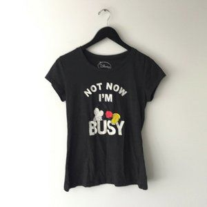 Disney Mickey Mouse Not Now I'm Busy Graphic Tee L